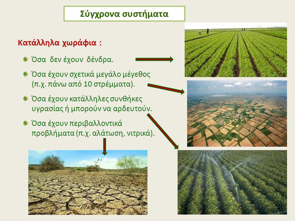 Σύγχρονα συστήματα Κατάλληλα χωράφια : Όσα δεν έχουν δένδρα.