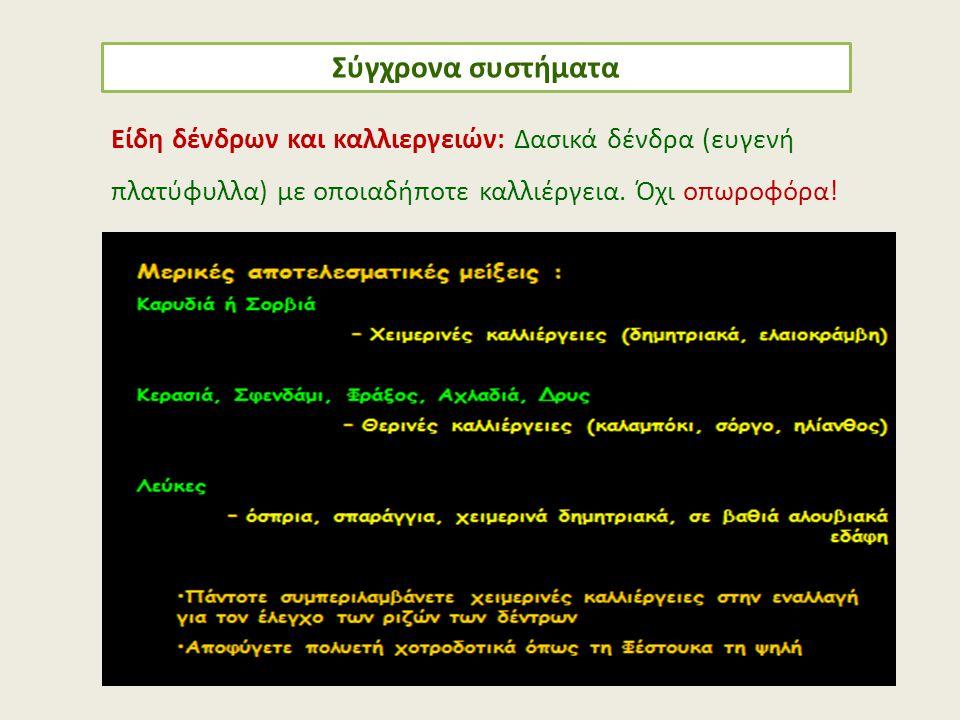 Σύγχρονα συστήματα Είδη δένδρων και καλλιεργειών: Δασικά δένδρα (ευγενή πλατύφυλλα) με οποιαδήποτε καλλιέργεια.