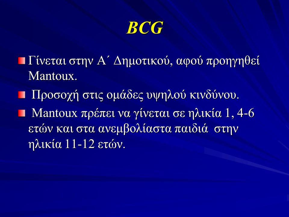 BCG Γίνεται στην Α΄ Δημοτικού, αφού προηγηθεί Mantoux.
