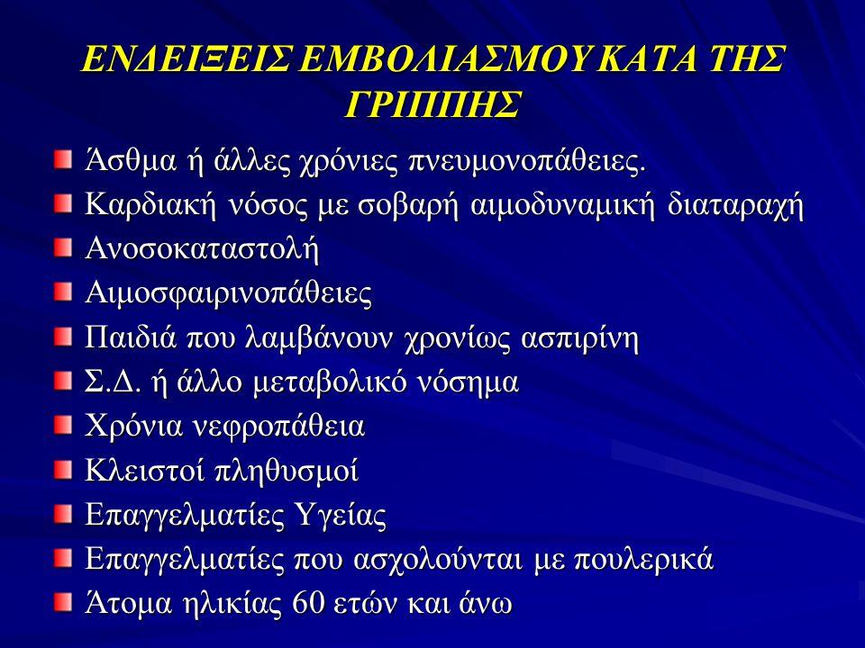 ΕΝΔΕΙΞΕΙΣ ΕΜΒΟΛΙΑΣΜΟΥ ΚΑΤΑ ΤΗΣ ΓΡΙΠΠΗΣ