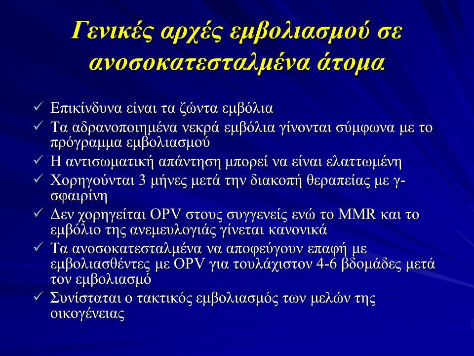 Γενικές αρχές εμβολιασμού σε ανοσοκατεσταλμένα άτομα