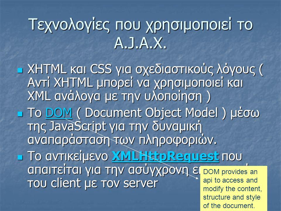 Τεχνολογίες που χρησιμοποιεί το A.J.A.X.