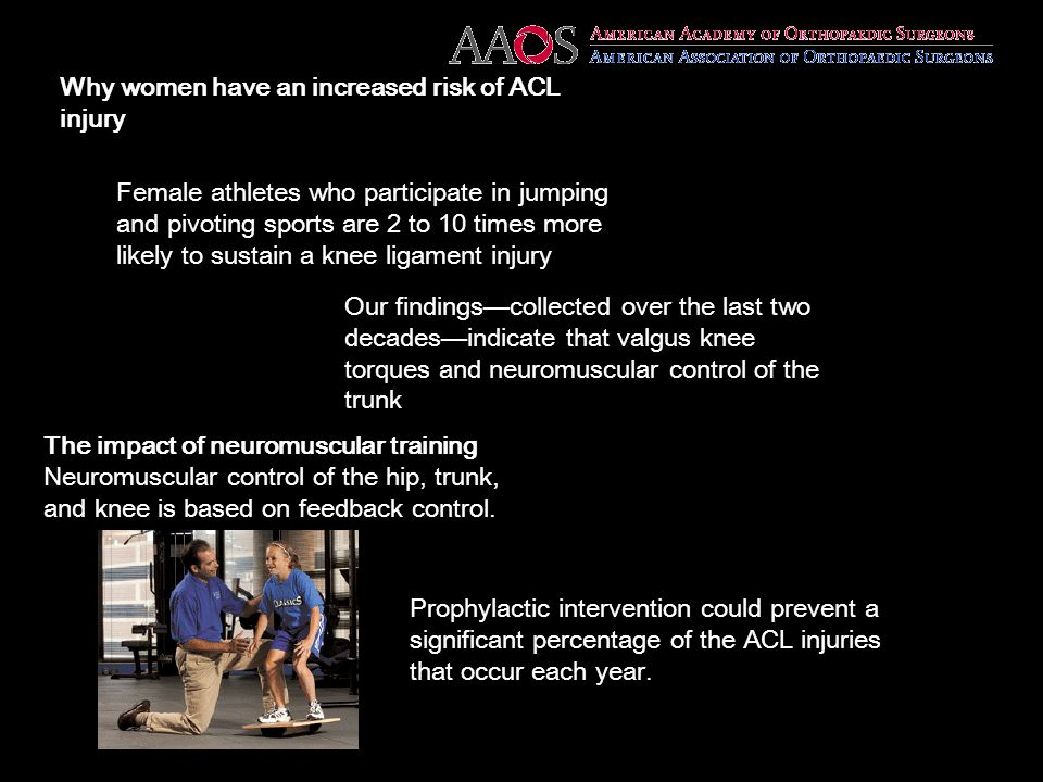 Why women have an increased risk of ACL injury