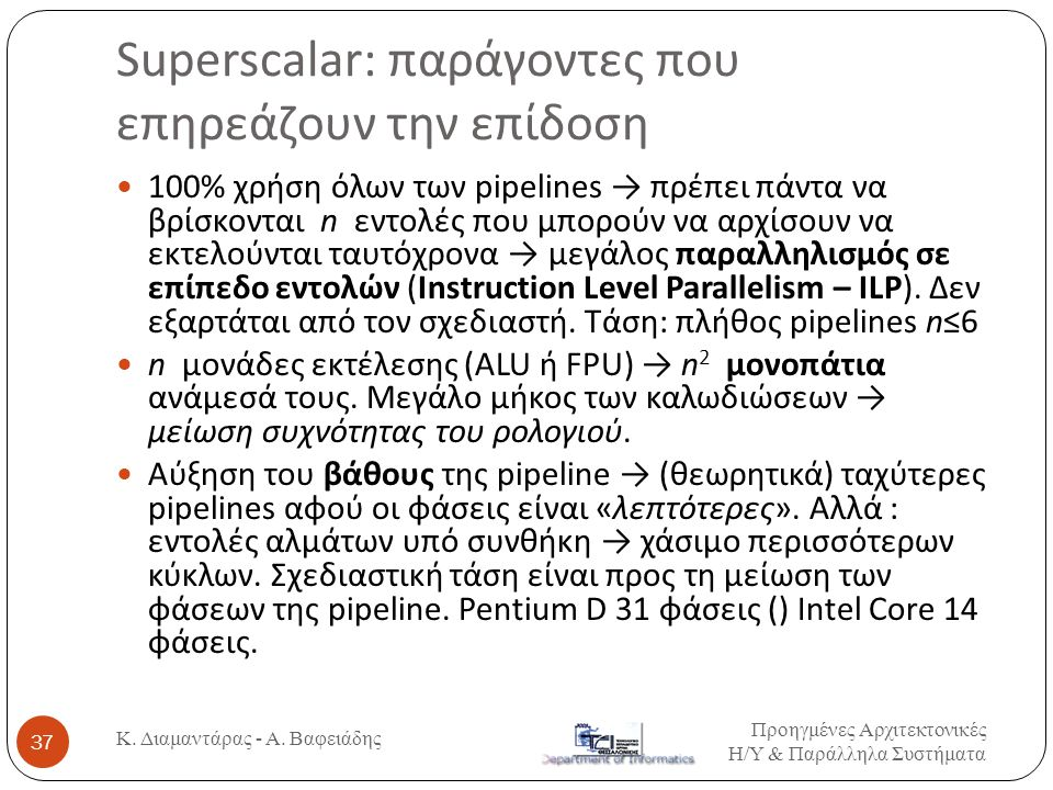 Superscalar: παράγοντες που επηρεάζουν την επίδοση