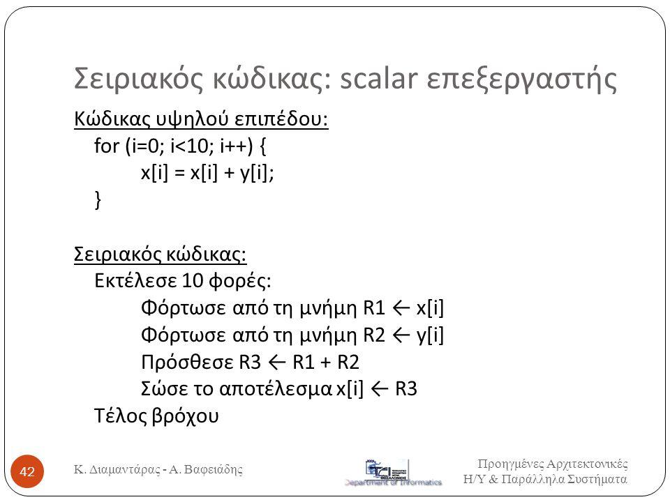 Σειριακός κώδικας: scalar επεξεργαστής