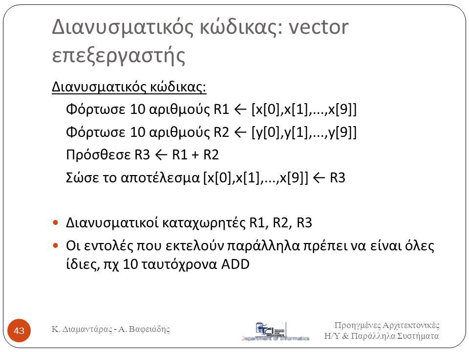 Διανυσματικός κώδικας: vector επεξεργαστής