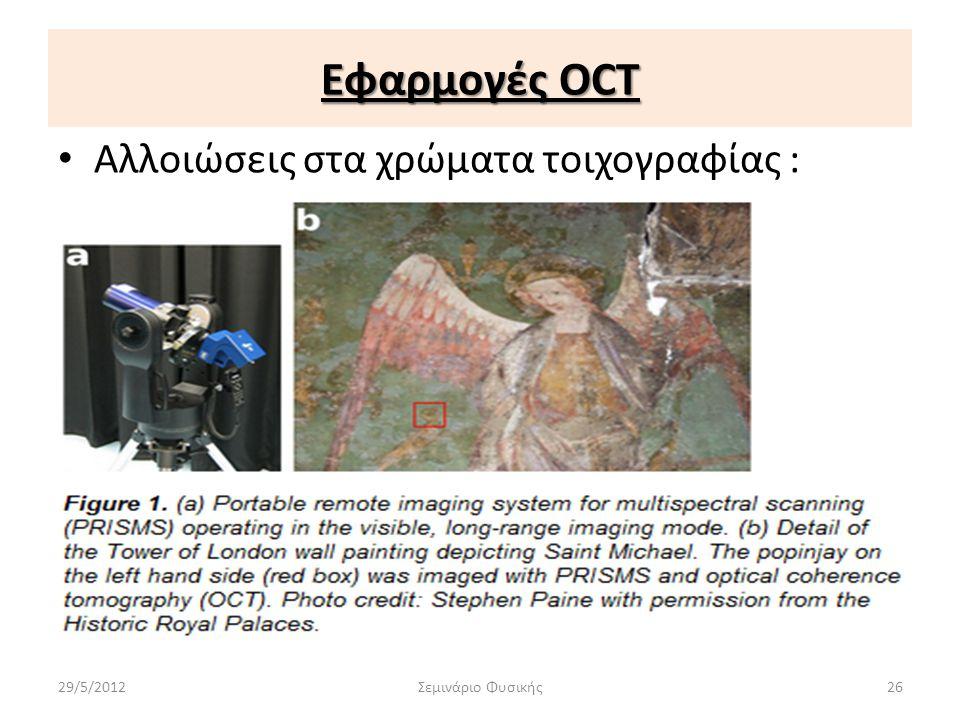 Εφαρμογές OCT Αλλοιώσεις στα χρώματα τοιχογραφίας : 29/5/2012