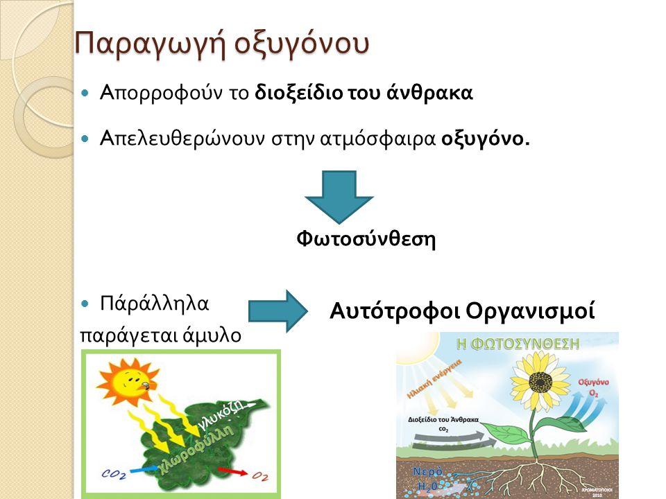 Παραγωγή οξυγόνου Αυτότροφοι Οργανισμοί