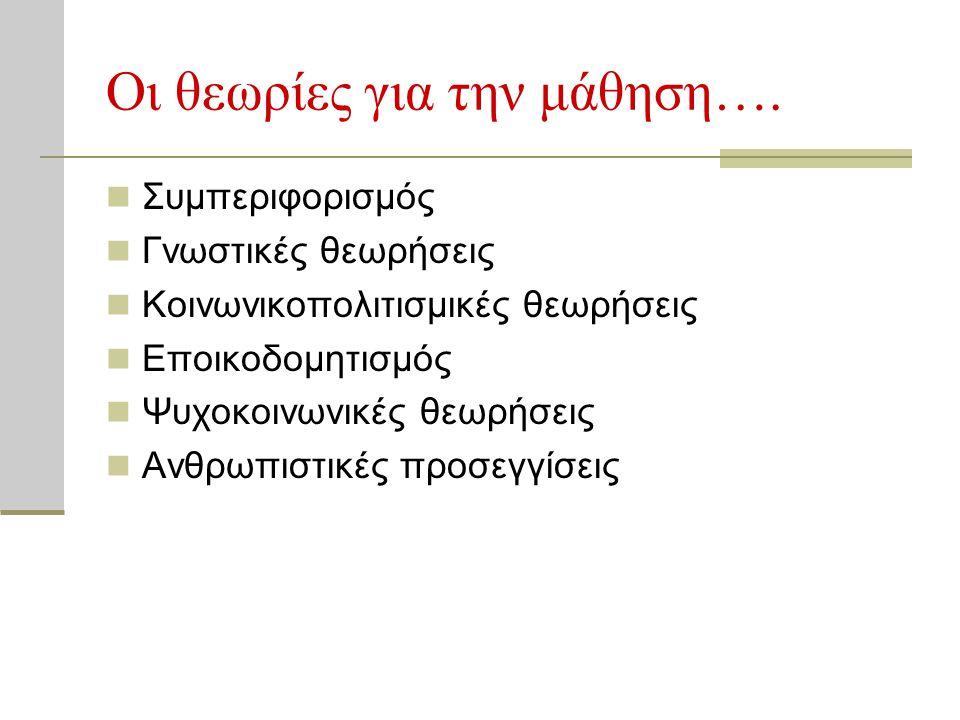 Οι θεωρίες για την μάθηση….