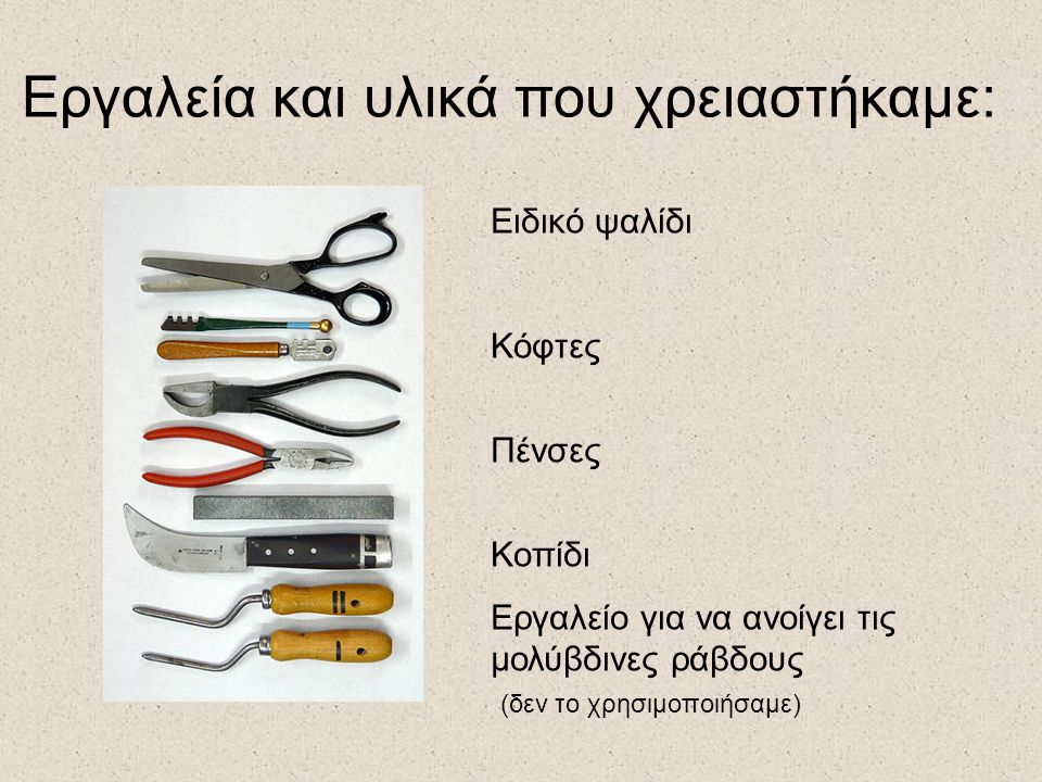 Εργαλεία και υλικά που χρειαστήκαμε: