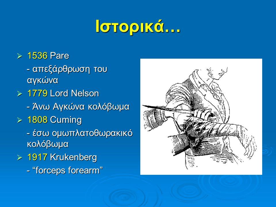 Ιστορικά… 1536 Pare - απεξάρθρωση του αγκώνα 1779 Lord Nelson