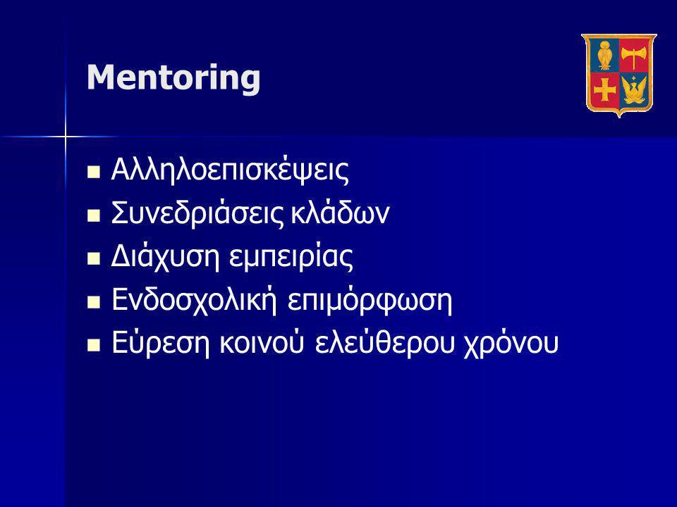 Mentoring Αλληλοεπισκέψεις Συνεδριάσεις κλάδων Διάχυση εμπειρίας
