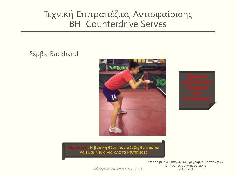 Τεχνική Επιτραπέζιας Αντισφαίρισης BH Counterdrive Serves