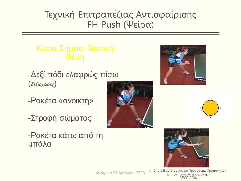 Τεχνική Επιτραπέζιας Αντισφαίρισης FH Push (Ψείρα)