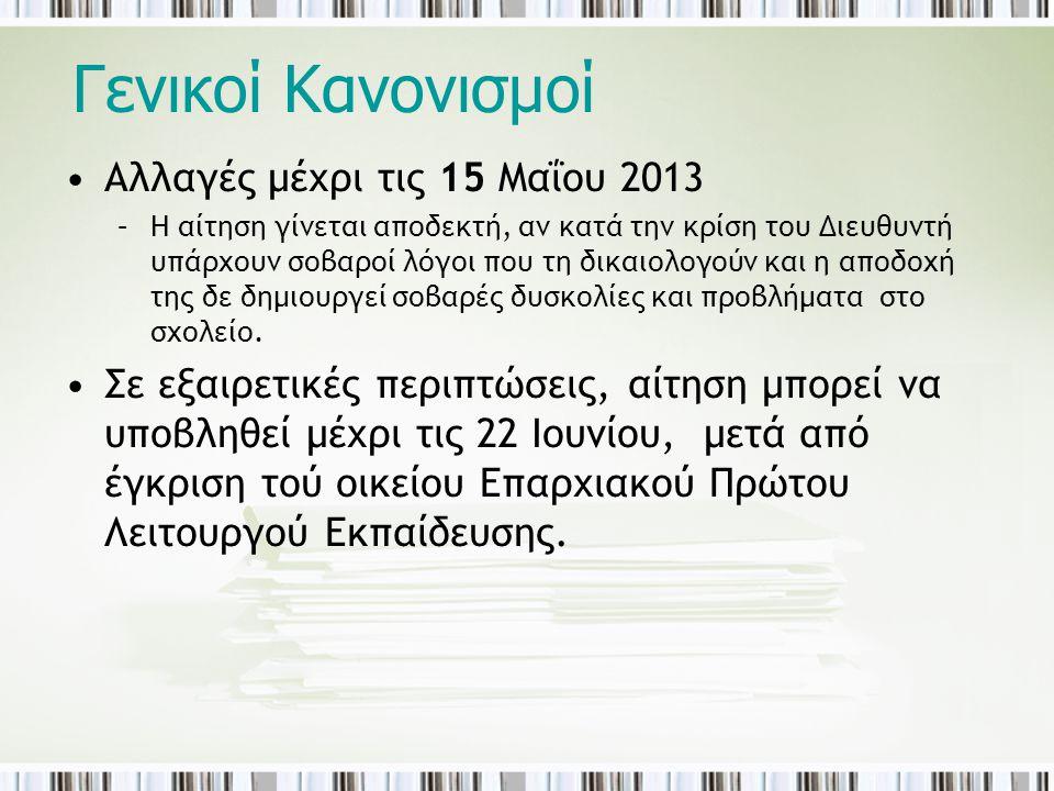 Γενικοί Κανονισμοί Αλλαγές μέχρι τις 15 Μαΐου 2013