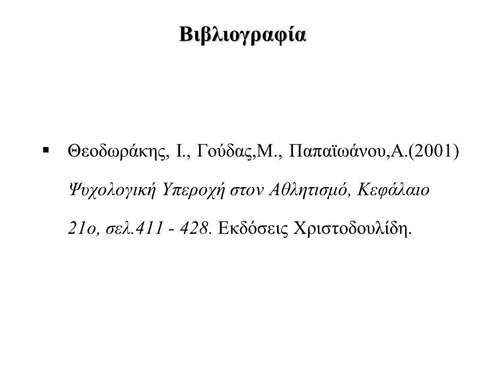 Βιβλιογραφία Θεοδωράκης, Ι., Γούδας,Μ., Παπαϊωάνου,Α.(2001) Ψυχολογική Υπεροχή στον Αθλητισμό, Κεφάλαιο 21ο, σελ.411 - 428.