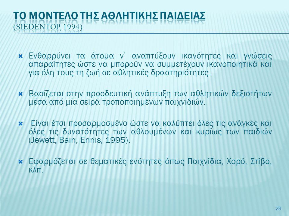 Το μοντελο τησ αθλητικησ παιδειασ (Siedentop, 1994)