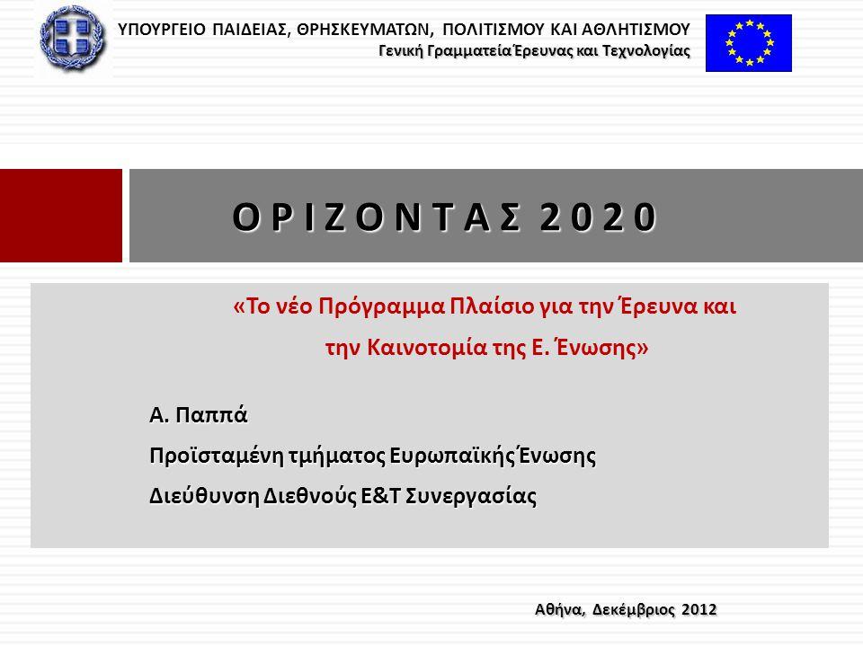 Ο Ρ Ι Ζ Ο Ν Τ Α Σ 2 0 2 0 «Το νέο Πρόγραμμα Πλαίσιο για την Έρευνα και
