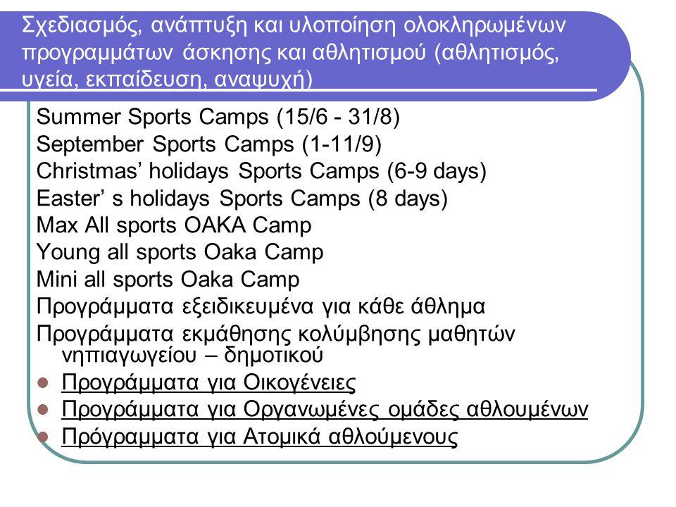 Σχεδιασμός, ανάπτυξη και υλοποίηση ολοκληρωμένων προγραμμάτων άσκησης και αθλητισμού (αθλητισμός, υγεία, εκπαίδευση, αναψυχή)