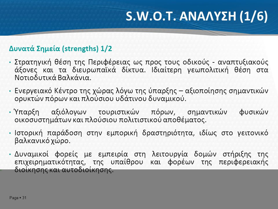S.W.O.T. ΑΝΑΛΥΣΗ (1/6) Δυνατά Σημεία (strengths) 1/2