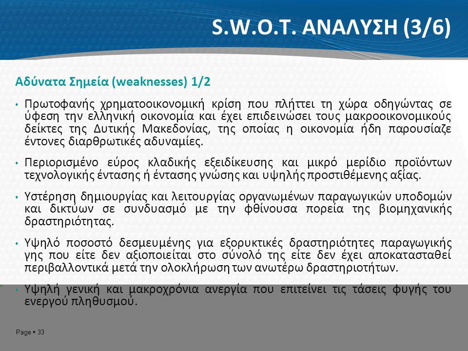 S.W.O.T. ΑΝΑΛΥΣΗ (3/6) Αδύνατα Σημεία (weaknesses) 1/2