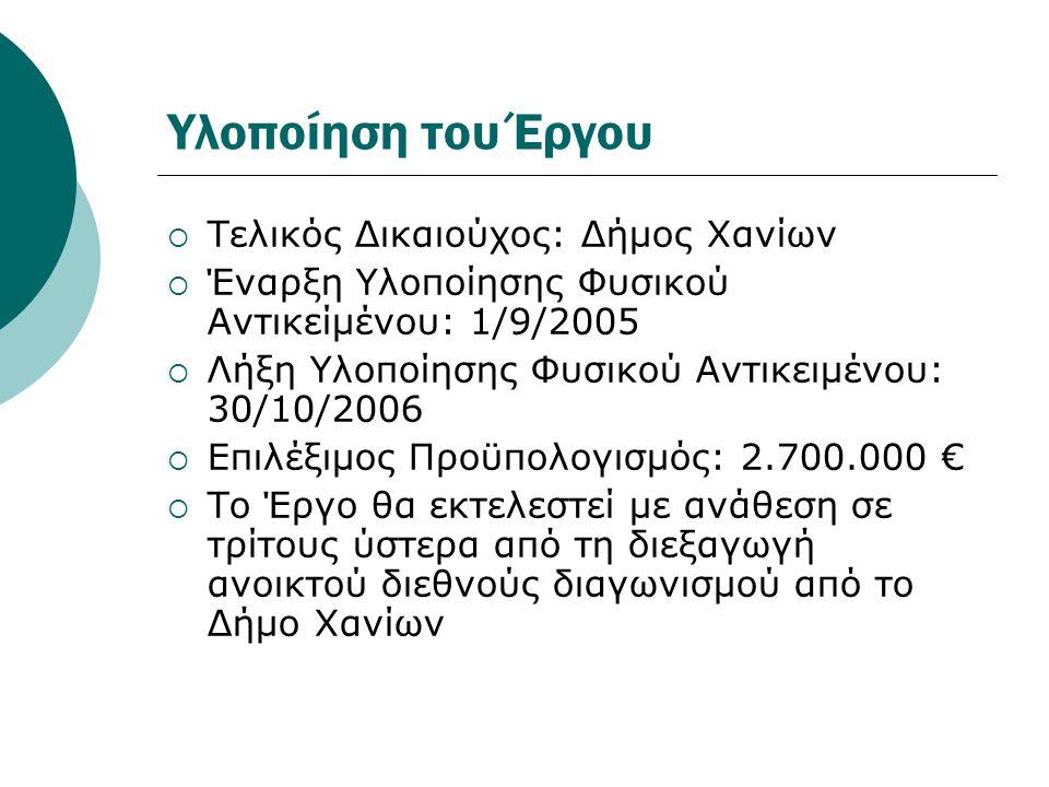Υλοποίηση του Έργου Τελικός Δικαιούχος: Δήμος Χανίων