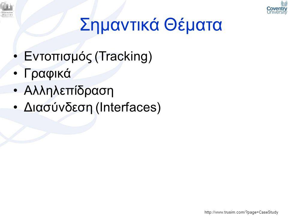 Σημαντικά Θέματα Εντοπισμός (Tracking) Γραφικά Αλληλεπίδραση