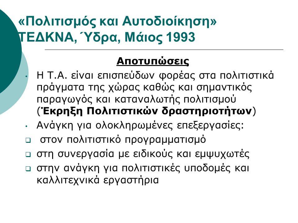 «Πολιτισμός και Αυτοδιοίκηση» ΤΕΔΚΝΑ, Ύδρα, Μάιος 1993