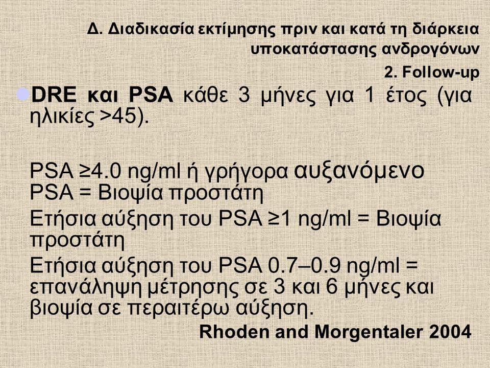 DRE και PSA κάθε 3 μήνες για 1 έτος (για ηλικίες >45).