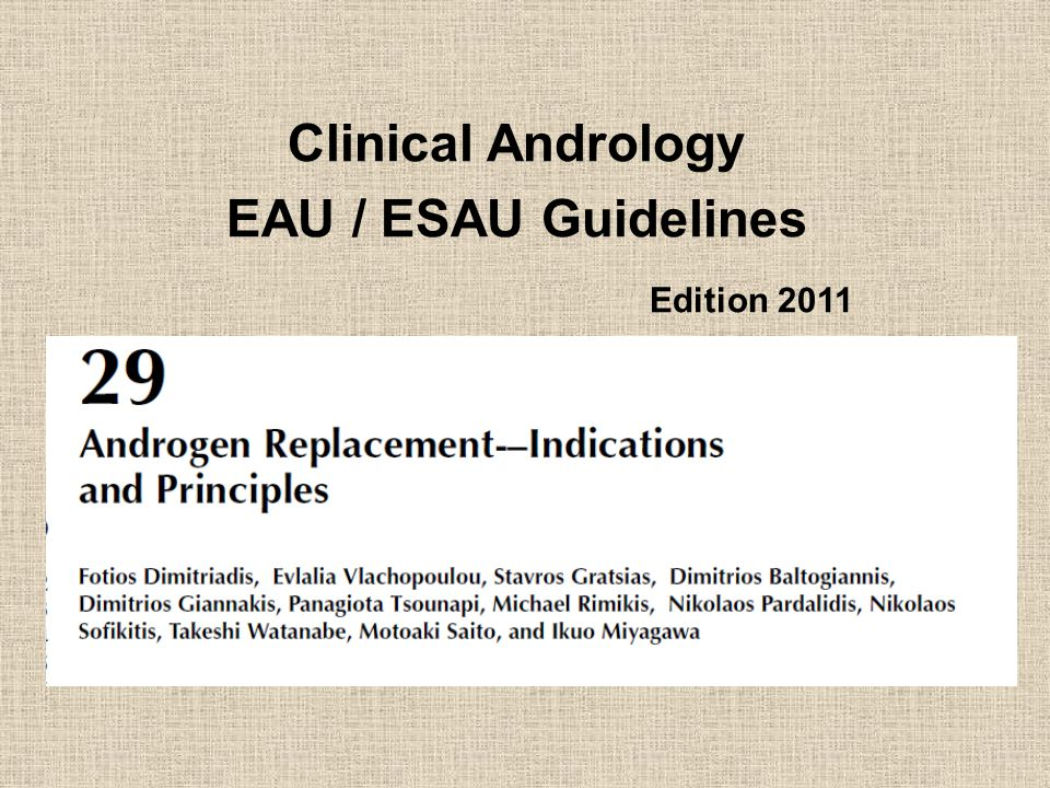 Clinical Andrology EAU / ESAU Guidelines