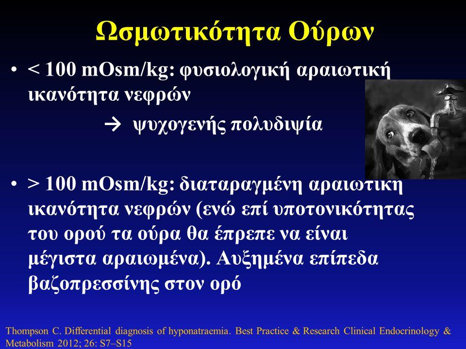 Ωσμωτικότητα Ούρων < 100 mOsm/kg: φυσιολογική αραιωτική ικανότητα νεφρών. → ψυχογενής πολυδιψία.