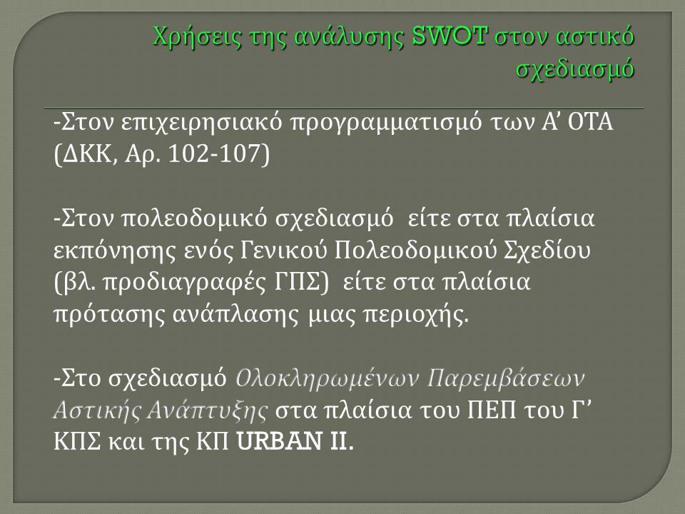 Χρήσεις της ανάλυσης SWOT στον αστικό σχεδιασμό