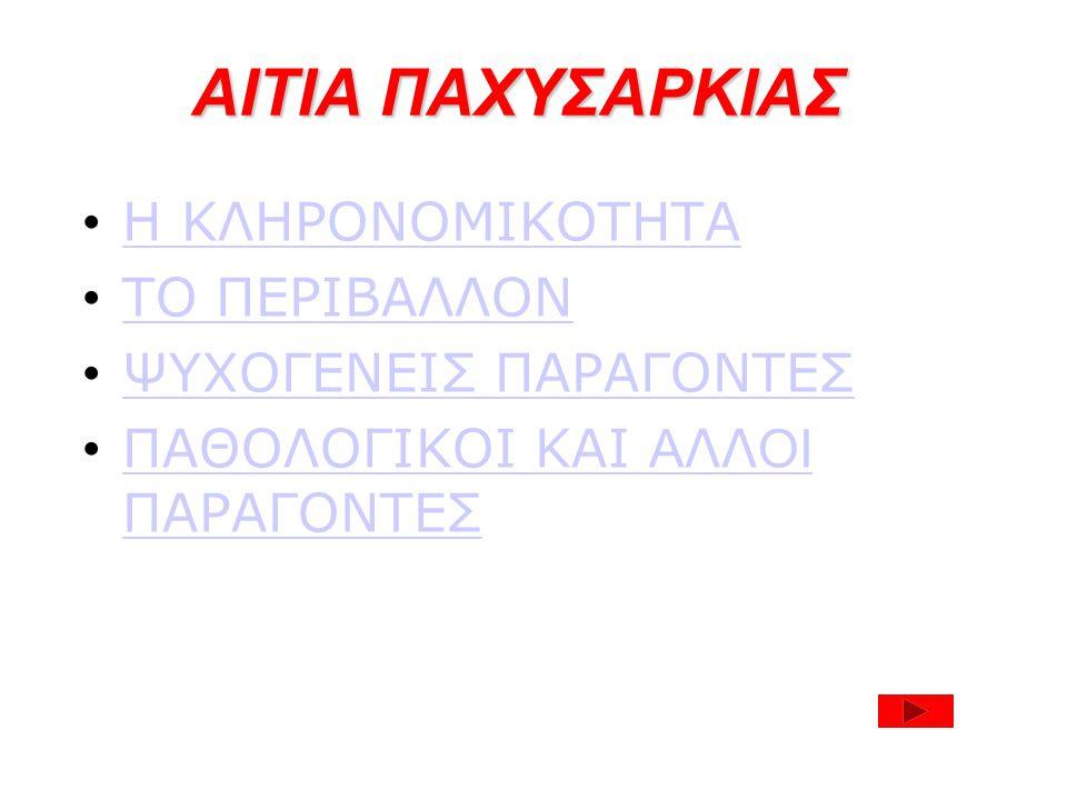 ΑΙΤΙΑ ΠΑΧΥΣΑΡΚΙΑΣ Η ΚΛΗΡΟΝΟΜΙΚΟΤΗΤΑ ΤΟ ΠΕΡΙΒΑΛΛΟΝ