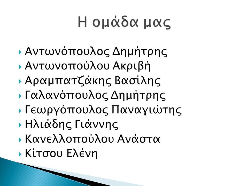 Η ομάδα μας Αντωνόπουλος Δημήτρης Αντωνοπούλου Ακριβή