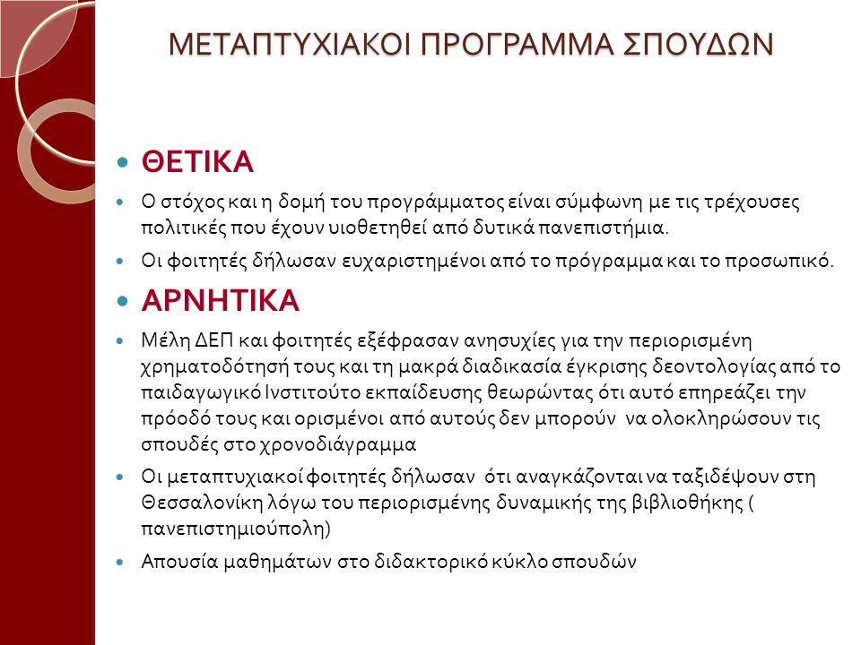 ΜΕΤΑΠΤΥΧΙΑΚΟΙ ΠΡΟΓΡΑΜΜΑ ΣΠΟΥΔΩΝ