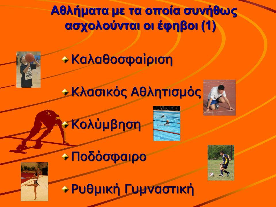 Αθλήματα με τα οποία συνήθως ασχολούνται οι έφηβοι (1)