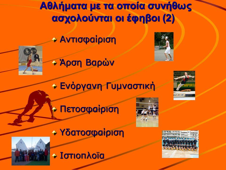 Αθλήματα με τα οποία συνήθως ασχολούνται οι έφηβοι (2)