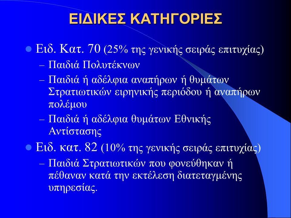 ΕΙΔΙΚΕΣ ΚΑΤΗΓΟΡΙΕΣ Ειδ. Κατ. 70 (25% της γενικής σειράς επιτυχίας)