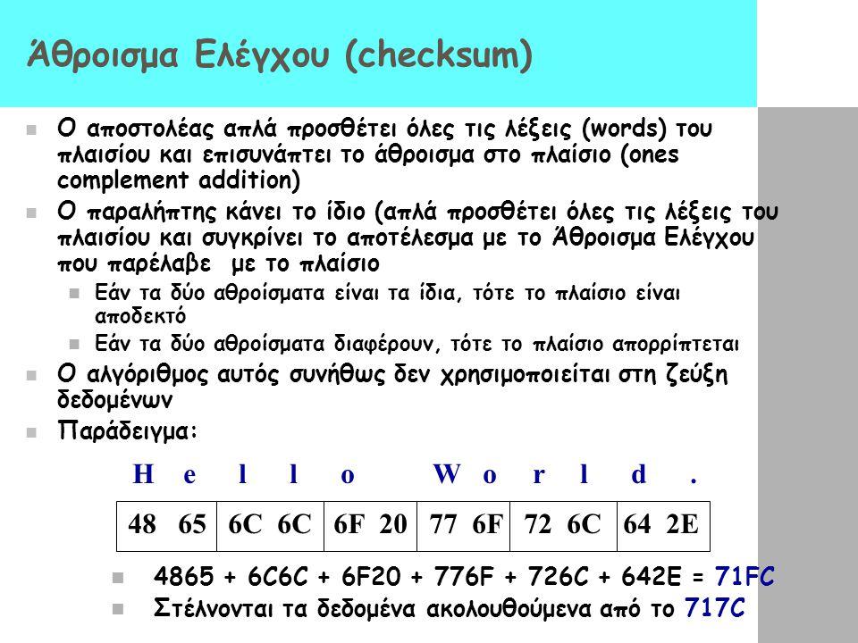 Άθροισμα Ελέγχου (checksum)