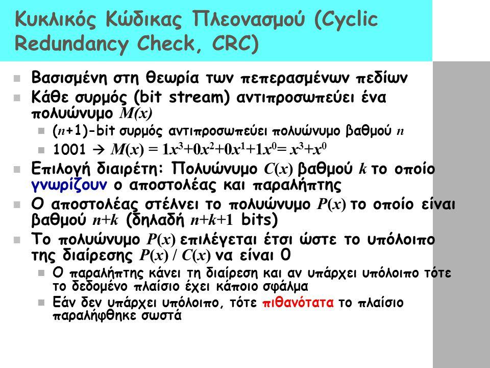 Κυκλικός Κώδικας Πλεονασμού (Cyclic Redundancy Check, CRC)