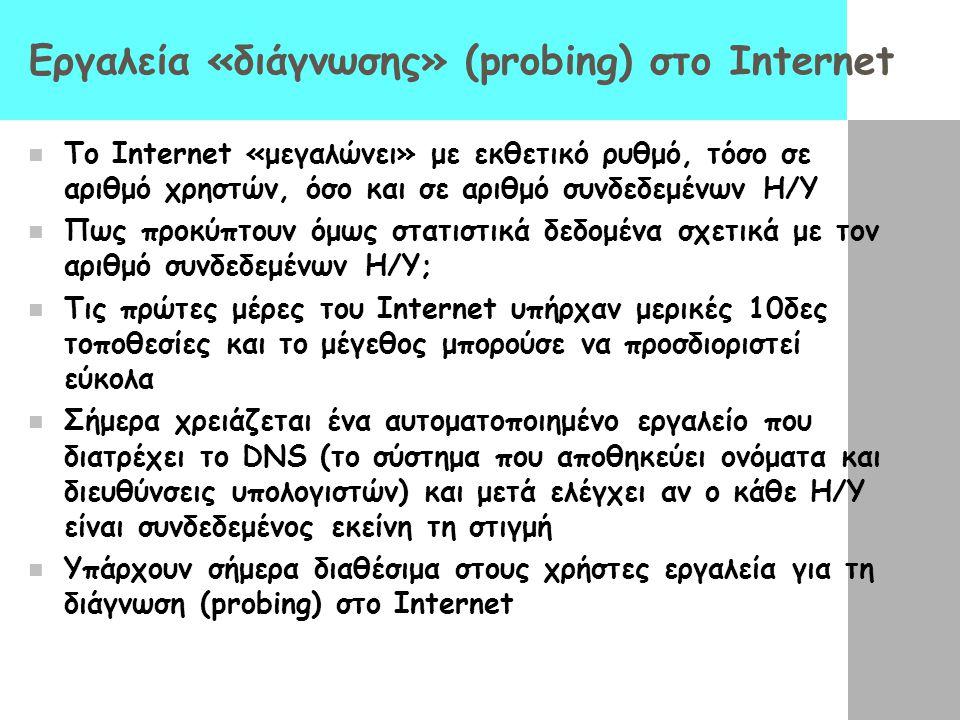 Εργαλεία «διάγνωσης» (probing) στο Internet