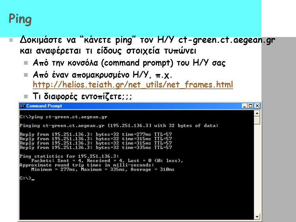 Ping Δοκιμάστε να κάνετε ping τον Η/Υ ct-green.ct.aegean.gr και αναφέρεται τι είδους στοιχεία τυπώνει.