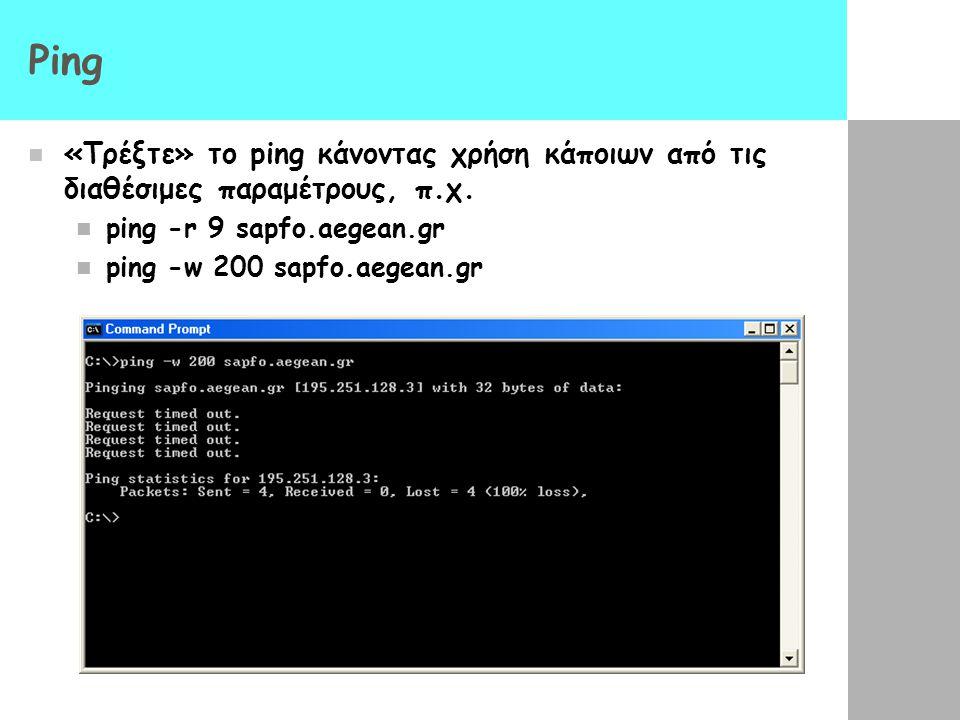 Ping «Τρέξτε» το ping κάνοντας χρήση κάποιων από τις διαθέσιμες παραμέτρους, π.χ. ping -r 9 sapfo.aegean.gr.