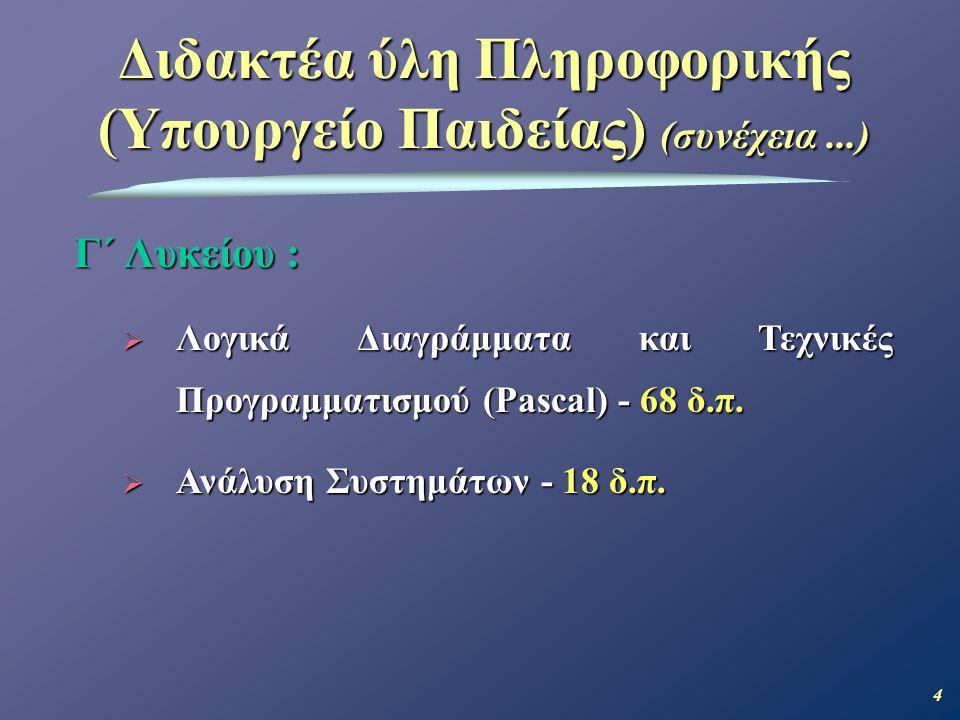 Διδακτέα ύλη Πληροφορικής (Υπουργείο Παιδείας) (συνέχεια ...)