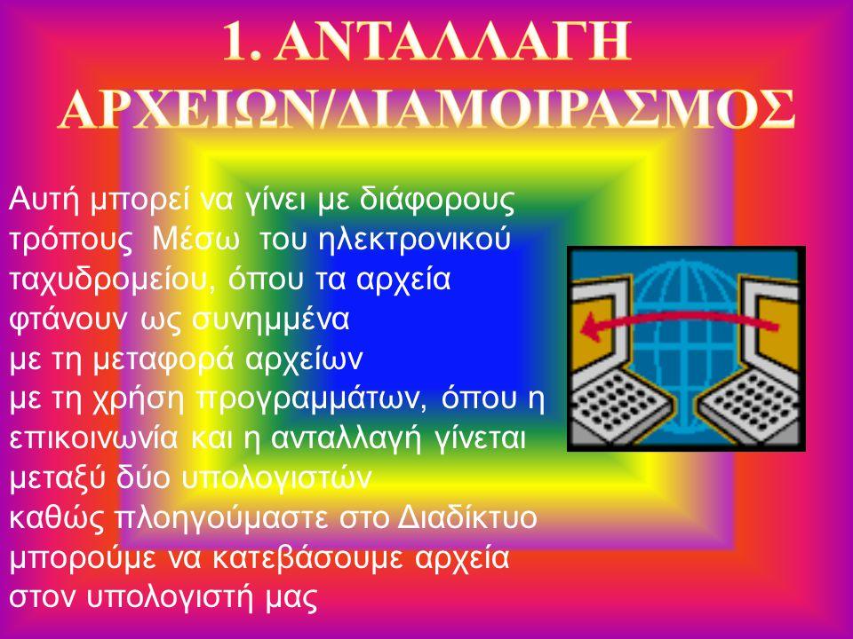 1. ΑΝΤΑΛΛΑΓΗ ΑΡΧΕΙΩΝ/ΔΙΑΜΟΙΡΑΣΜΟΣ