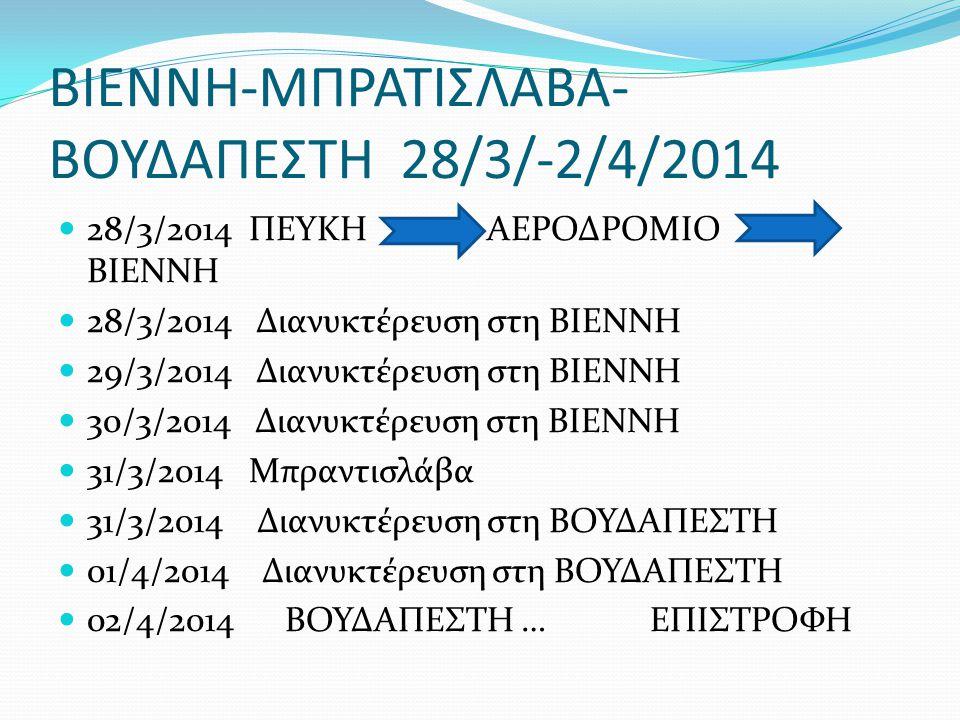ΒΙΕΝΝΗ-ΜΠΡΑΤΙΣΛΑΒΑ- ΒΟΥΔΑΠΕΣΤΗ 28/3/-2/4/2014