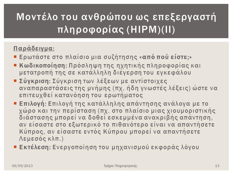Μοντέλο του ανθρώπου ως επεξεργαστή πληροφορίας (HIPM)(ΙΙ)