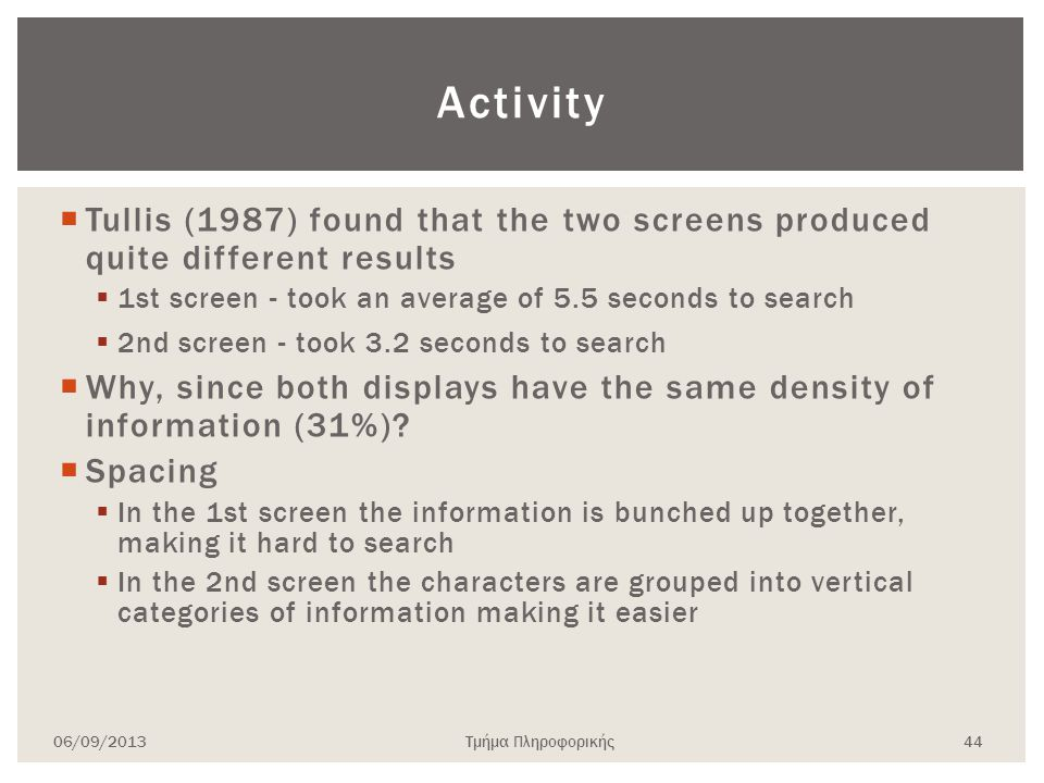 Activity Tullis (1987) found that the two screens produced quite different results. 1st screen - took an average of 5.5 seconds to search.