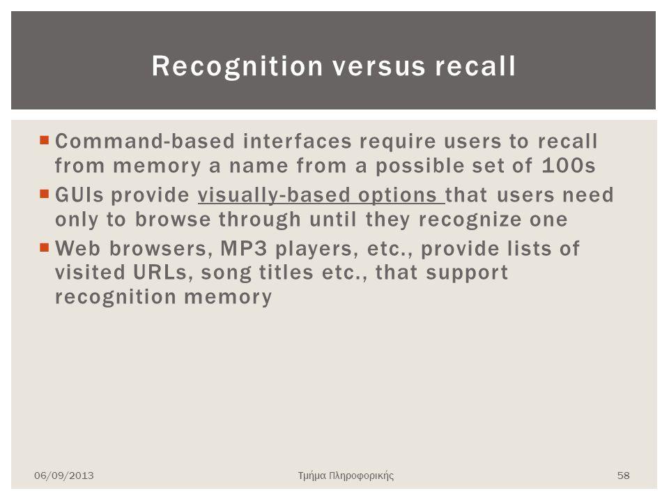 Recognition versus recall