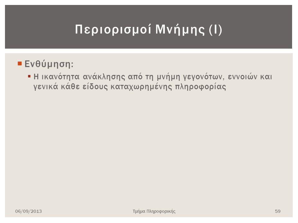 Περιορισμοί Μνήμης (Ι)